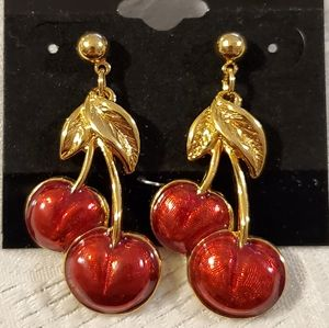 Jewelry - BUNDLE FREEBIE! Double Cherry Gold Post Earrings